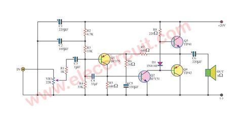 simple audio amplifier circuit diagram  transistor