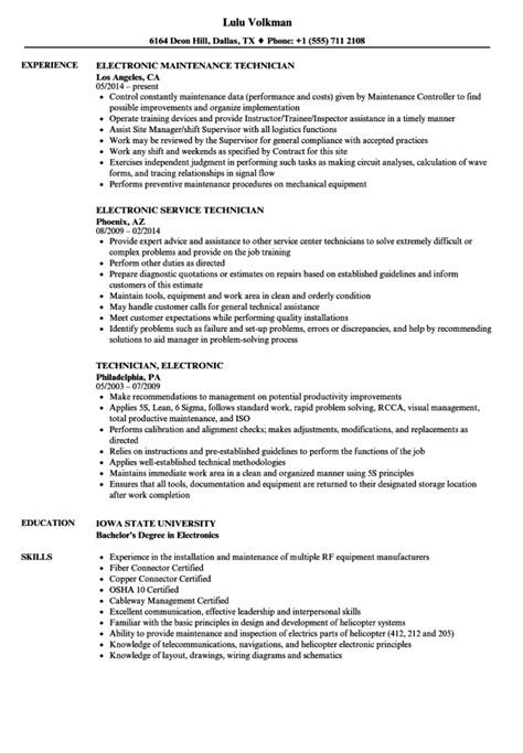 Electronic Resume by Electronic Technician Resume Sle Electronics Resumes