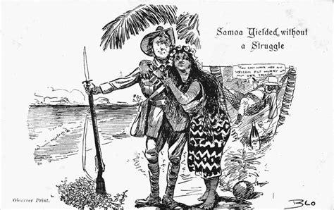 samoa yielding postcard nzhistory  zealand history