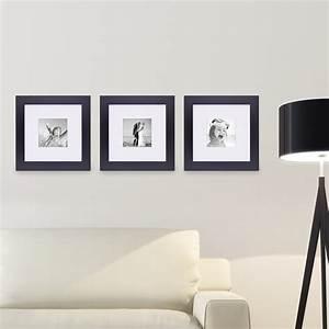 Bild Mit Bilderrahmen Bestellen : 3er set bilderrahmen 30x30 cm schwarz modern breit aus mdf mit passepartout 20x20 cm u ~ Indierocktalk.com Haus und Dekorationen