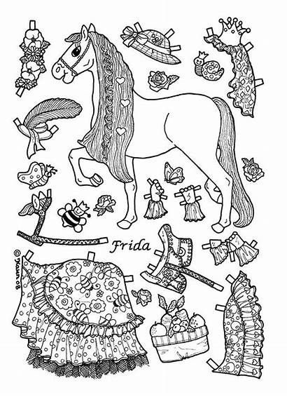 Paper Doll Coloring Dolls Pages Horse Princess