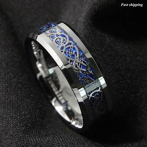 8mm silvering celtic dragon tungsten carbide ring mens for Tungsten celtic wedding ring