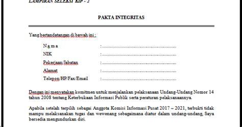 contoh pakta integritas terbaru list kerja