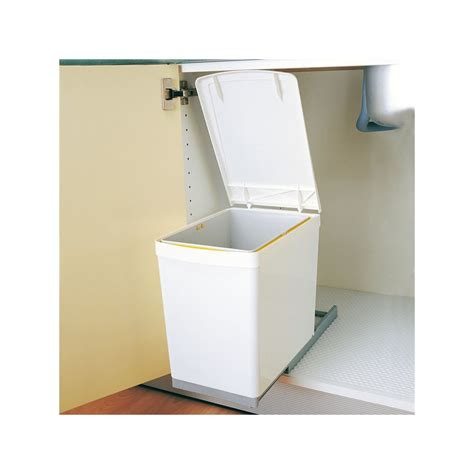 poubelle de cuisine coulissante poubelle rectangulaire 1 bac 16l blanc