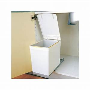 Meuble Poubelle Cuisine : poubelle rectangulaire 1 bac 16l blanc ~ Dallasstarsshop.com Idées de Décoration