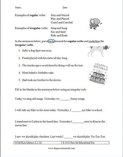 free irregular verbs worksheet for second grade common core standard ccss ela literacy l 2 1d