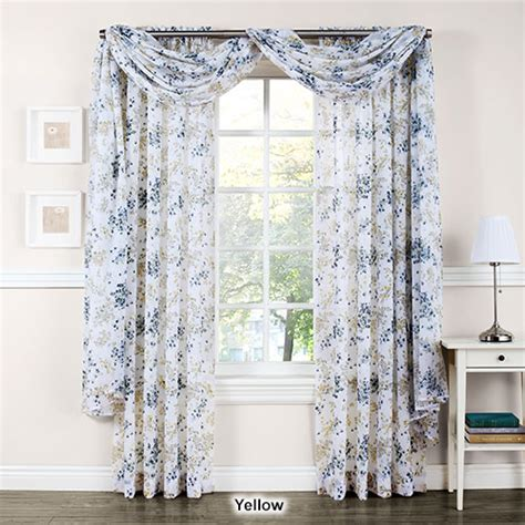 crushed voile curtain scarf athena crushed voile floral print window scarf boscov s