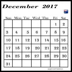 Printable Monthly Calendar December 2017