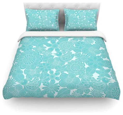 Turquoise And White Duvet Cover by Grifol Quot Turquoise Birds Quot Aqua Blue Duvet Cover