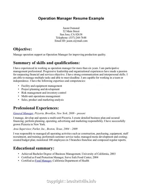 Summary For Resume by Create General Manager Resume Summary Exles Resume