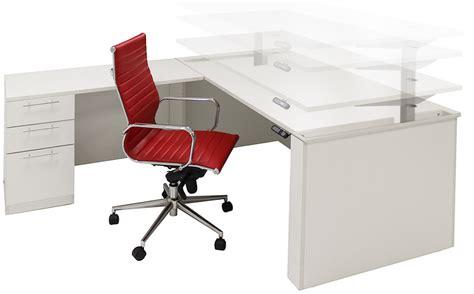 adjustable height executive desk adjustable height u shaped executive office desk w hutch