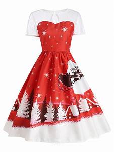 red s santa claus deer vintage christmas dress rosegalcom With robe longue pour noel