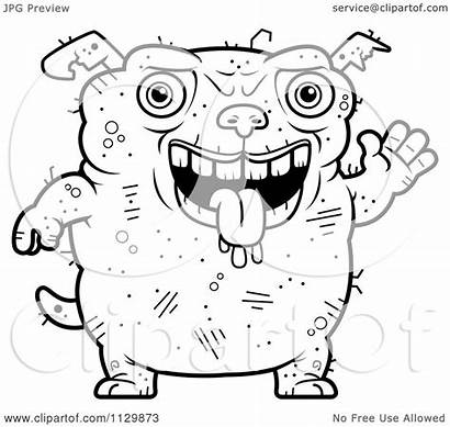 Ugly Dog Cartoon Clipart Waving Coloring Outlined