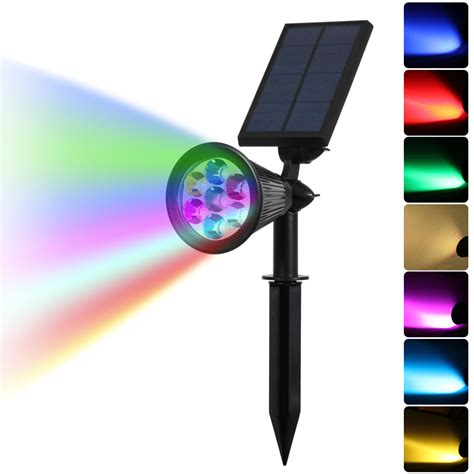 7 led auto color changing solar spotlight outdoor lighting