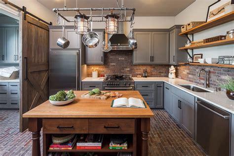 Industrial decor kitchen farmhouse with german farmhouse brick floor butler pantry