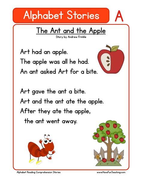 alphabet stories letter  reading comprehension worksheet