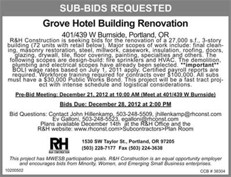 rh construction  requesting  contractor bids