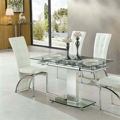 Enke Extending Dining Table In Clear Glass And Chrome Frame. Flexco Flooring. Corner Landscaping. Blue And White Vase. Kitchen Cabinets Tampa. Thayer Coggin. Grey China Cabinet. How To Decorate Kitchen Counters. Tropical Dinnerware