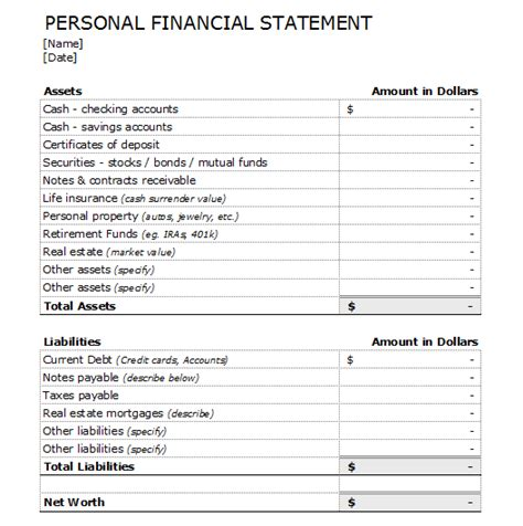 personal financial statement template 4 financial statement forms and templates to analyze your business