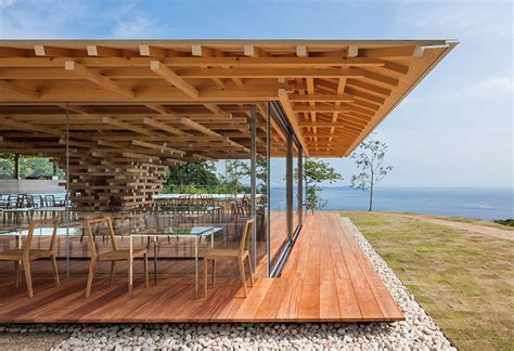 wooden swing kengo kuma stacks cedar boards to form tree inspired coeda