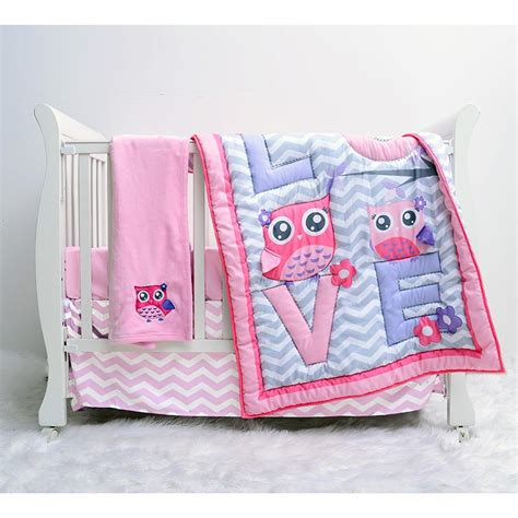 owl bedding crib 4pc pink owl crib bedding set 310585942