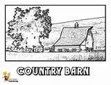 Coloring Pages Barn Tractor Country Farm Yescoloring Boys Tractors Earthy sketch template