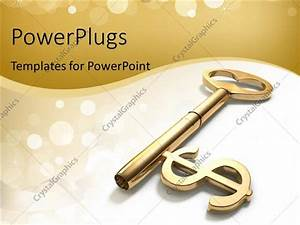 Powerpoint Template  Golden Skeleton Key With Dollar Sign