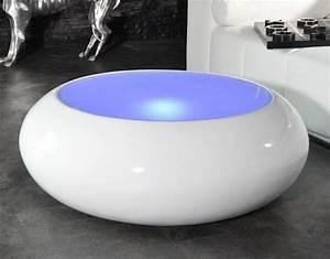 Table Basse Ronde Blanc Laqué : table basse ronde lumineuse le bois chez vous ~ Teatrodelosmanantiales.com Idées de Décoration