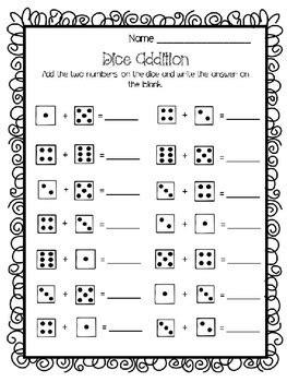 dice addition worksheet  teaching tools  suzie tpt
