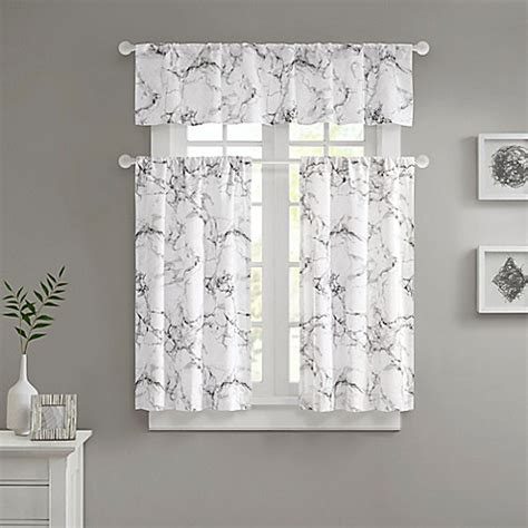 White And Silver Valance by Marble Valance And Window Curtain Collection Bed Bath