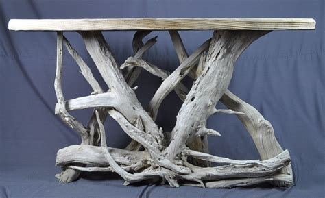 Sun Bleached Sofafoyer Table Solid Top Driftwood Decor