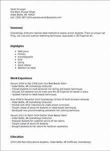 professional cosmetology instructor templates to showcase With cosmetology resume template