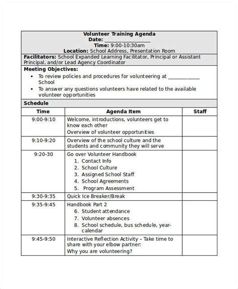 agenda templates examples    examples