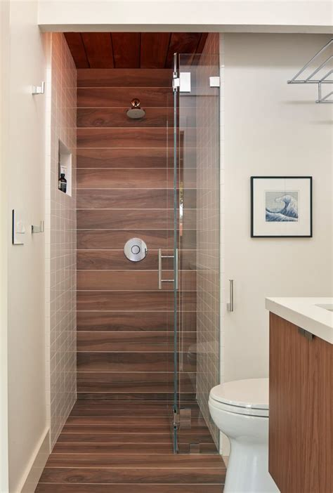glazed porcelain wood tile shower bathroom midcentury with