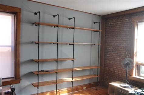 how to build a bookcase wall unit picture of diy wood and pipes shelving system