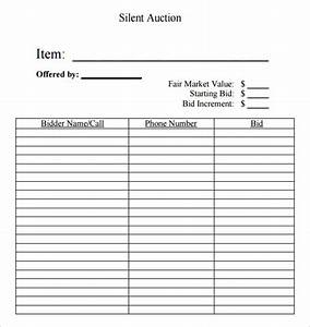 19 sample silent auction bid sheet templates to download for Bid sheets for silent auction template