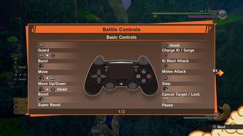 dragon ball  kakarot controls list commands keybindings