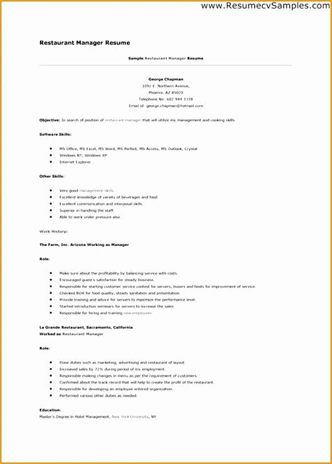To Make A Resume Fast by 5 Restaurant Worker Resume Exle Free Sles