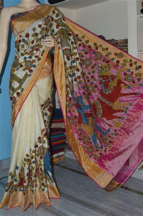 pen kalamkari saree uppada silk kalamkari saree beautiful half white with kalamkari sarees