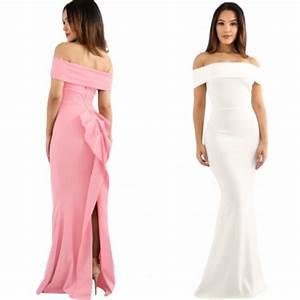Vestido De Fiesta Blanco Rosa Sin Hombros Moda Largo Boda $ 815 00 en Mercado Libre