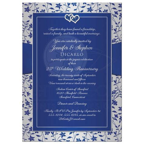 1 year wedding anniversary gifts for 25th wedding anniversary invitation royal blue silver floral joined hearts