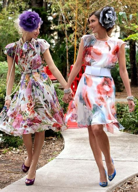 girlfriends  pretty dresses garden party outfit