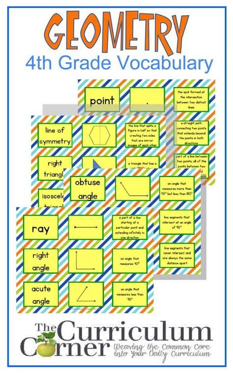 4th Grade Geometry Vocabulary Cards  Vocabulary Cards
