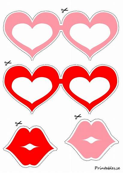 Booth Heart Printables Photobooth Props Glasses Valentines