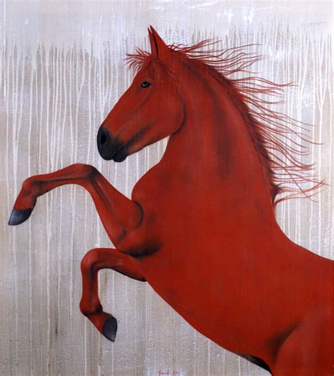 horse cheval thierry bisch rouge animal peinture thoroughbred arabe toile painting tableau