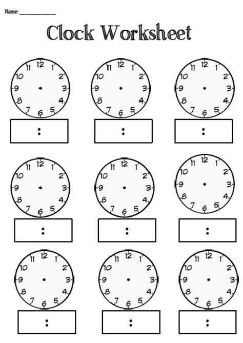 blank clock template 8 best images of blank clocks worksheets time blank clock worksheets blank digital clock