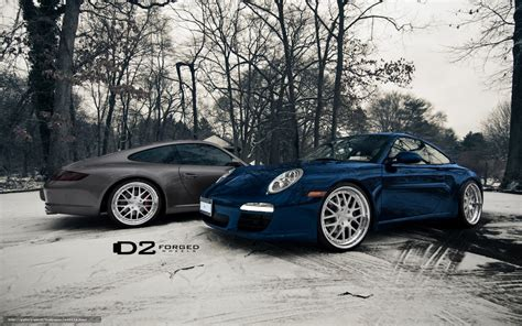 Download Wallpaper Blue, Winter, Nice, Porsche Free