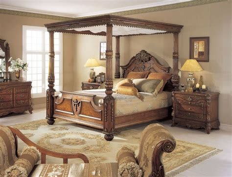 Size Poster Bedroom Sets by Mahogany Carved King Size Poster Bed W Canopy Ebay
