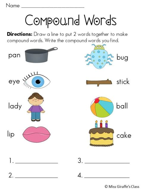 compound words worksheets and words on