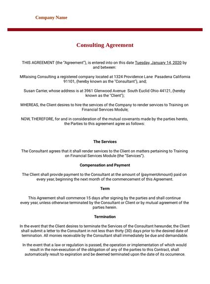 Consulting Agreement Template - PDF Templates   JotForm